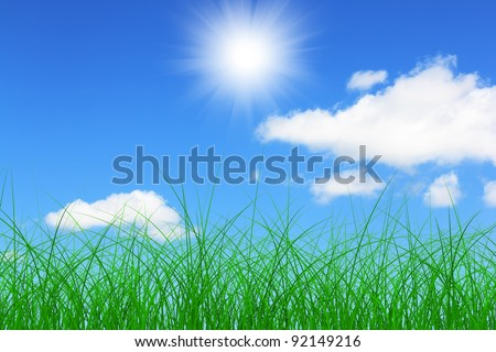 landscape of green meadows. Green grass and blue sky