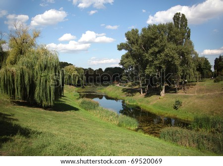 Landscape of green park and pond