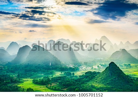 Landscape of Guilin, Karst mountains. Located near Yangshuo, Guilin, Guangxi, China. #1005701152