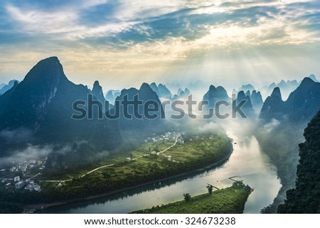 Landscape of Guilin, Li River and Karst mountains. Located near The Ancient Town of Xingping, Yangshuo County, Guangxi Province, China.