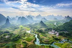 Landscape of Guilin, Li River and Karst mountains. Located near Yangshuo County, Guilin City, Guangxi Province, China.