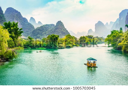 Landscape of Guilin, Li River and Karst mountains. Located near Yangshuo, Guilin, Guangxi, China. #1005703045