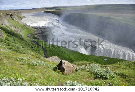 Landscape of Gullfors, Iceland. The great waterfall.
