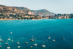 Landscape of harbor, port in Nice. Cote d'Azur France. Luxury resort of French riviera. scenery panoramic aerial cityscape view of Nice, France. azure water, harbor, apartments, yachts and sailboats.