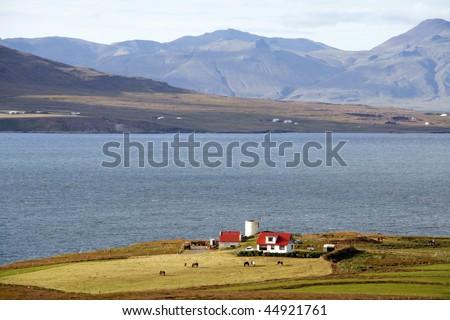 Landscape of Hvalfjordur (Whale fjord) in western Iceland
