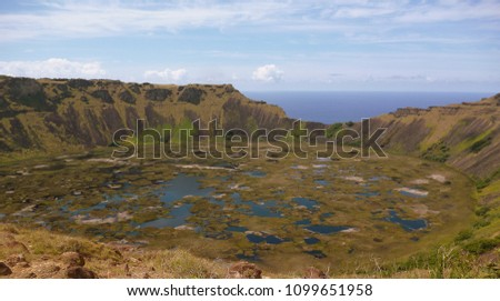 Landscape of inactive volcano on Easter Island