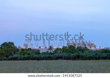 Landscape of Industrial, Industrial plant at twilight, Industrial background.