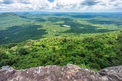 Landscape of Kingdom of Cambodia. View from top of Pha Mo I Daeng cliff in Khao Phra Wihan National Park, Kantharalak, Si Sa Ket, Thailand.