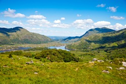 Landscape of Lady's view, Killarney National Park in Ireland. The famous