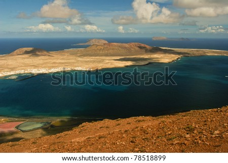 Landscape of Lanzarote, Canary Islands - stock photo