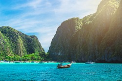 Landscape of Maya beach with longtail boat for tourist, Phi Phi island, Andaman sea, Krabi, phuket, Travel Most popular place Thailand, Beautiful destination Asia, Summer holiday outdoor vacation trip