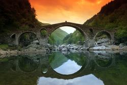 Landscape of Medieval Devil's Bridge, Arda River in the Rhodope Mountains, Kardzhali Region, Bulgaria
