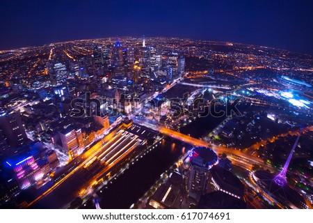 Landscape of Melbourne city at night from Eureka Sky Deck