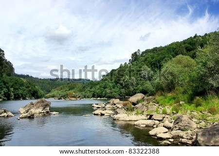 Landscape of Minho river, north of Portugal.