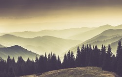 Landscape of misty mountain hills at summer. Filtered image:cross processed retro and soft focus effect.