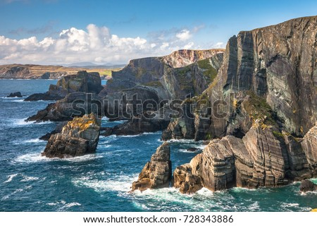Landscape of Mizen Head cliffs on Atlantic coast, county Cork, Ireland #728343886