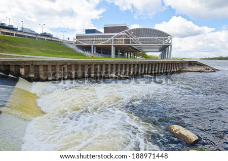 Landscape of modern architecture in a building surrounded by water
