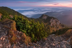 Landscape of mountain at sunrise from peak Velky Choc, Slovakia. Discover the beauty of earth.