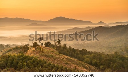 Landscape of Mountain views and Sunrise at Yun Lai Viewpoint,Pai Chiangmai Thailand