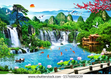 Landscape of mountain with waterfall and nine fishes near a bridge for wall decoration. 3D rendering