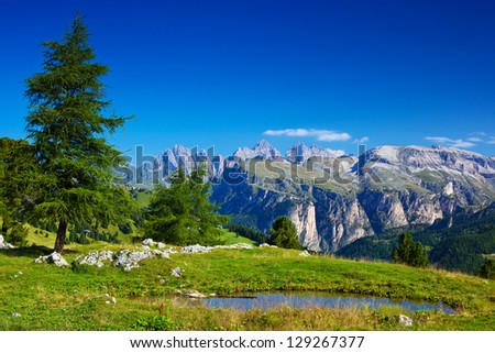 Landscape of mountains in Dolomites Italy.