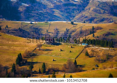 landscape of mountains in the Carpathians at dawn #1013452708