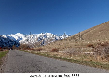 Landscape of mountains, roads