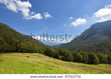 "Landscape of Nationalpark Alto Garda (it.: Parco dell'Alto Garda)  - view from a pasture  780m above lake garda between the monte ""Monte Pizzocolo""(1500m right) and ""Monte Castello"" (900m left)"