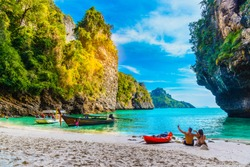 Landscape of natural sea beach on small island, Activity happy couple traveler, Poda island, Andaman sea, Krabi, Travel Thailand, Beautiful destination place Asia, Summer holiday outdoor vacation trip