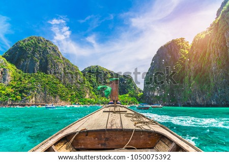Landscape of nature sea beach with boat and island at sunshine time, Maya bay, Phi Phi island, Krabi, Phuket, Travel Thailand, Beautiful destination place Asia, Summer holiday outdoor vacation trip