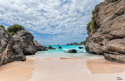 Landscape of Ocean, rock and beach in Horseshoe Bay, Southampton Parish, Bermuda
