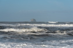 Landscape of ocean, waves, horizon and sea stack at Rialto Beach