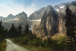 Landscape of off road trail with the view of mountain in North Cascades National Park, Washington State, USA