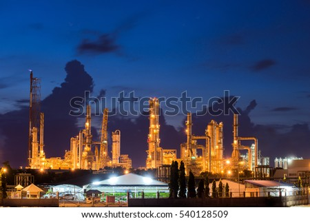 Landscape of oil refinery industry or petroleum industry with oil storage tank in Chonburi, Thailand. #540128509