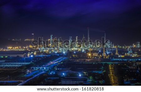 Landscape of oil refinery industry with oil storage tank and port
