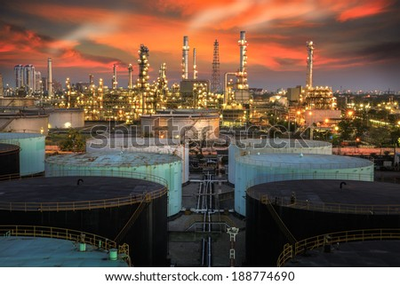 Landscape of oil refinery industry with oil storage tank and pulution environment