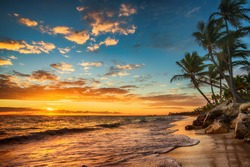Landscape of paradise tropical island beach, sunrise shot