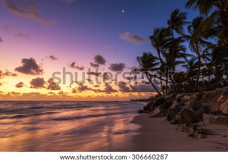 Landscape of paradise tropical island beach, sunrise shot #306660287