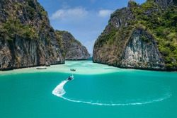 Landscape of Pileh lagoon in Phi Phi Leh island, Famous place snorkel, Andaman sea, Krabi, phuket,Travel in your dream Thailand, Beautiful destination place Asia, Summer holiday outdoor vacation trip.
