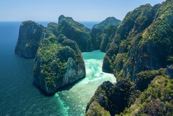 Landscape of Pileh lagoon in Phi Phi Leh island, Famous place snorkel, Andaman sea, Krabi, phuket,  Beautiful destination place Asia,Summer holiday outdoor vacation trip.