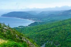 Landscape of Pleasant Bay, along the Cabot Trail, in Cape Breton island, Nova Scotia, Canada