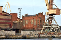 Landscape of Port and Harbor with Crane in Ventspils, Latvia