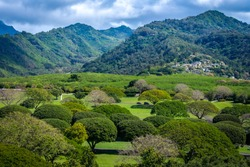 Landscape of Punch Bowl National Cemetery of the Pacific, Volcanic creater,  Honolulu, Oahu island, Hawaii USA with Koolau Mountain background