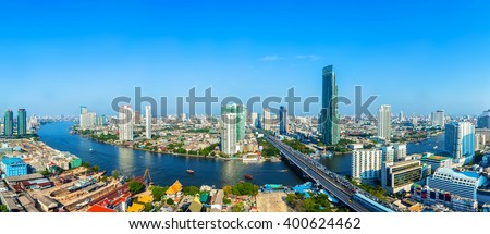 Landscape of River in Bangkok city with blue sky #400624462