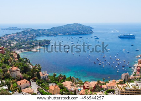 landscape of riviera coast and turquiose water of Mediterranean sea, cote dAzur at sunny summer day, France #496544257