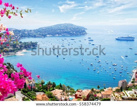 landscape of riviera coast, turquiose water and blue sky of cote dAzur at sunny summer day, France, toned #558374479