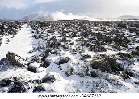 landscape of rocks with snow