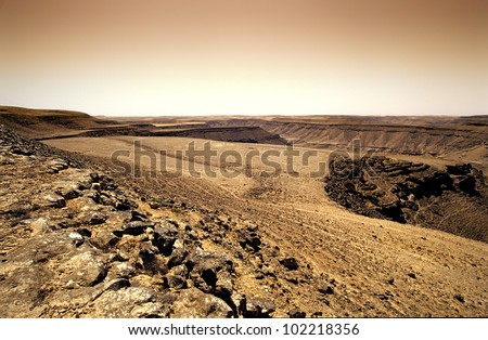 landscape of rocky desert in oman