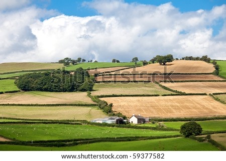 Landscape of rolling hills in Brecon Beacons National park in Wales, UK