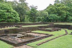 Landscape of ruin Royal Gardens and Pools, Lion Rock, Sigiriya, Sri Lanka